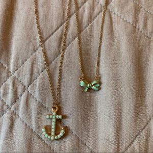 Teal and Gold Necklaces